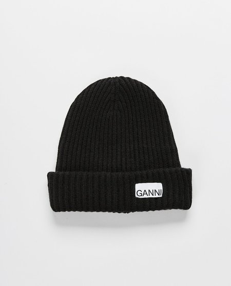 Ganni Rib Knit Acc Beanie - black