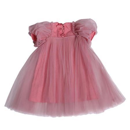 Kids Tia Cibani Pleated Empress Dress - Gumball Pink