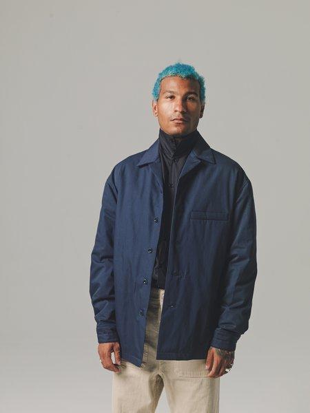 Vulcan Blue Soft Cotton Gabardine Wadded Overshirt-Blue