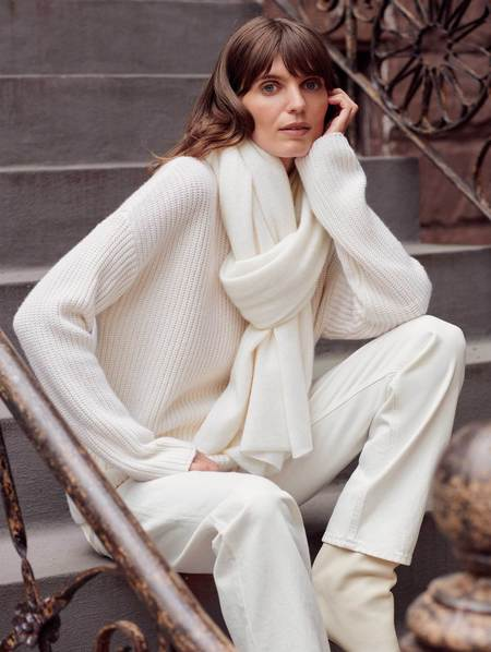 Unisex White + Warren Cashmere Travel Wrap - Soft White