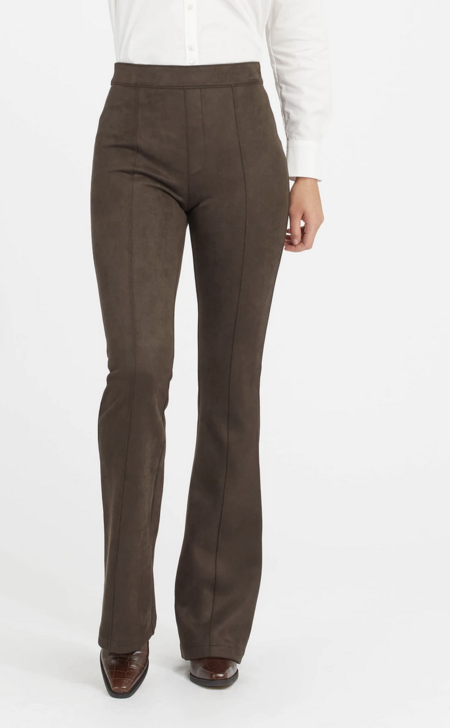 Spanx Faux Suede Flare Pant-BLACK