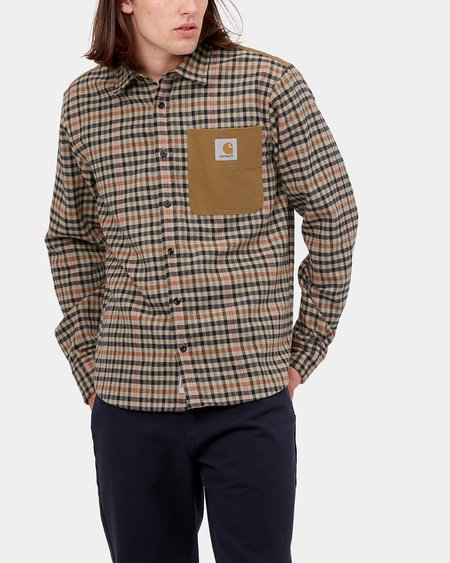 CARHARTT WIP Camisa LS Asher Shirt - Asher Check Leather