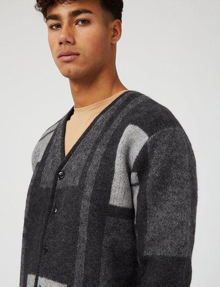 Beams Plus Panel Pattern Shaggy Cardigan - Charcoal Grey