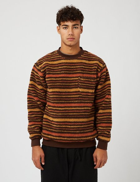 Beams Plus Stripe Fleece Crew Sweatshirt - Brown