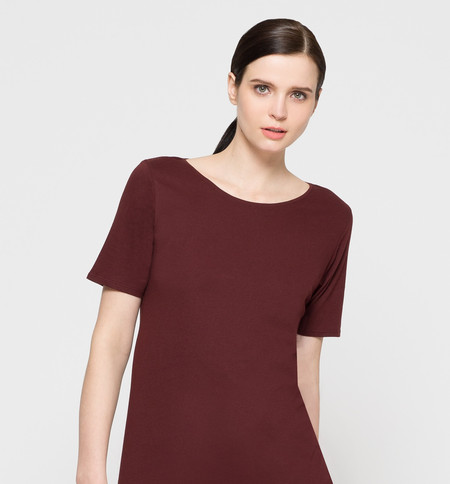 Kowtow Building Block T-Shirt Dress Burgundy