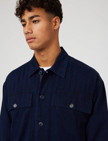 YMC Herringbone Twill Military Shirt - Indigo Blue