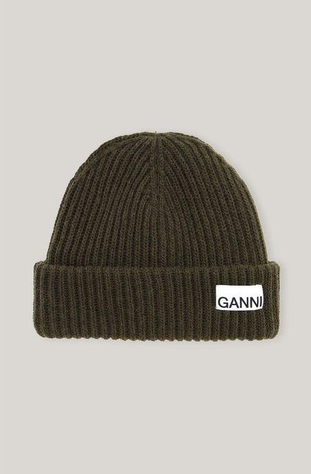 Ganni Rib Knit Toque hat - Kalamata