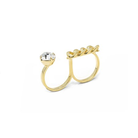 Joomi Lim Double Finger Ring w/ Crystal & Chain