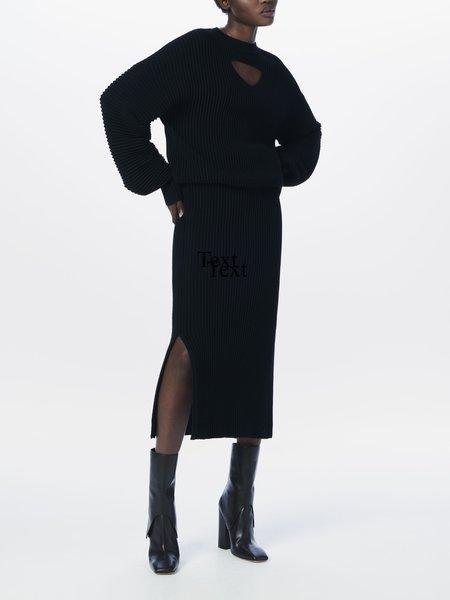 Victoria Beckham Cut-Out Merino Dress - BLACK