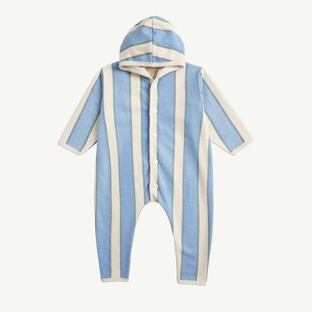 kids unisex Summer & Storm Baby Hooded Romper - Blue Retro Stripe