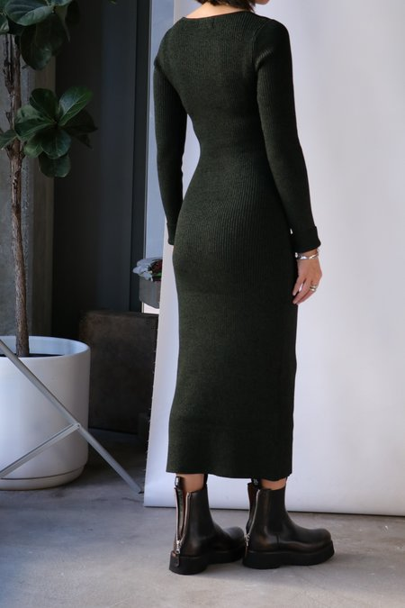 Ganni Melange Knit Dress - Dark Green