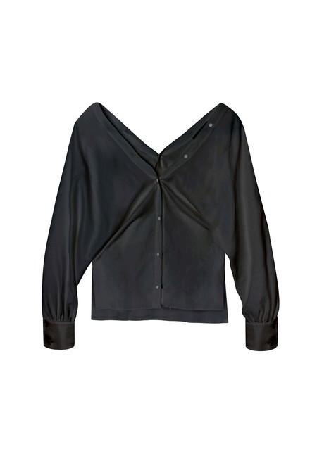 KES Vesta Cotton Deep V Blouse - Washed Black