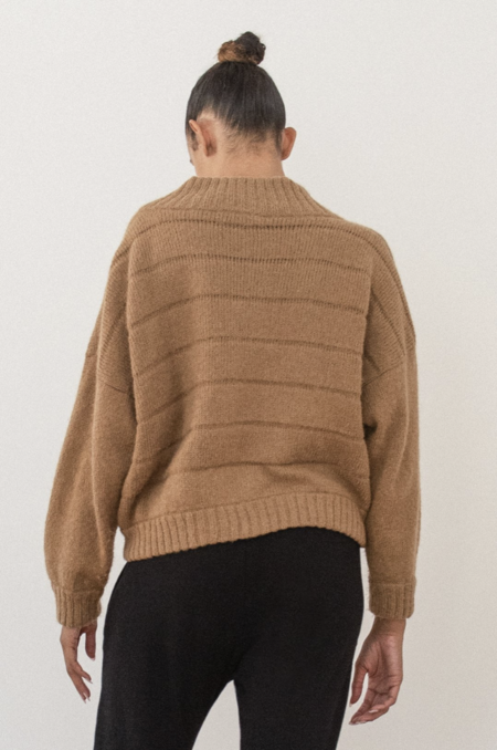 Wol Hide Quilted Bomber Sweater - Fawn