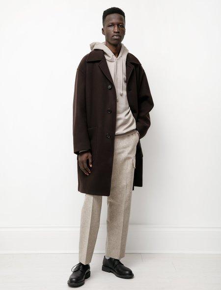Auralee Double Cloth Melton Soutien Collar Coat - Dark Brown