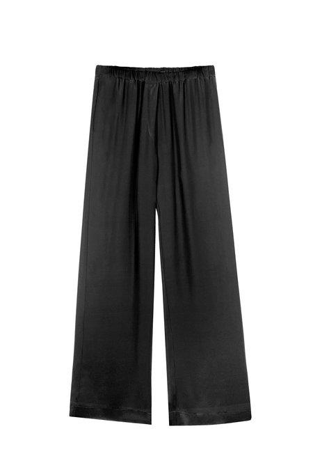 KES Minimal Wide Leg Silk Pant - Black