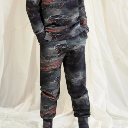 kids unisex Romey Loves Lulu Dinosaur Lava Sweatpants - black