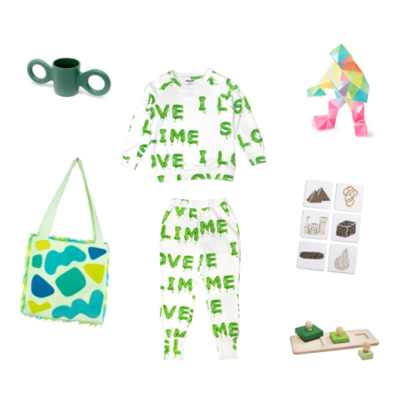 kids unisex Romey Loves Lulu I Love Slime Sweatpants - green