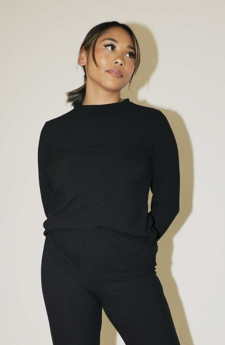 Mary Young Greer Top - Black Rib