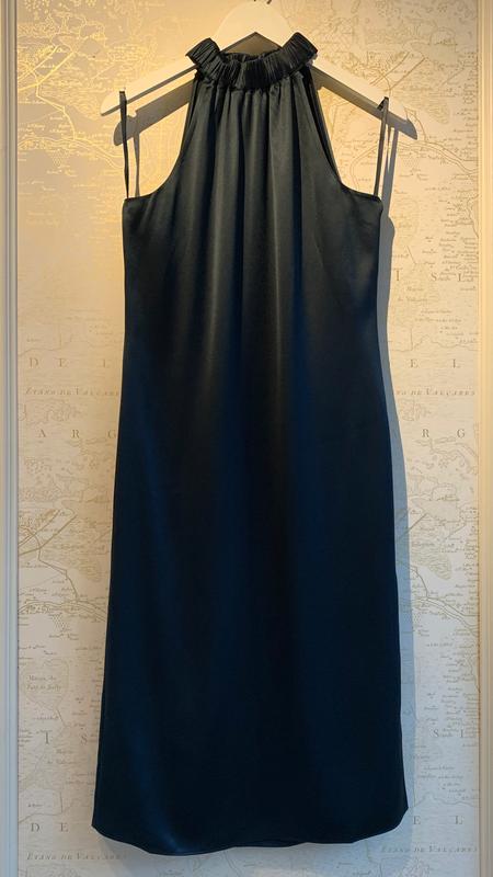 FRAME Denim Shirred Halter Dress - Navy