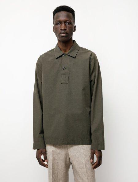 Margaret Howell MHL Faced Collar Polo Shirt - Poplin Forest