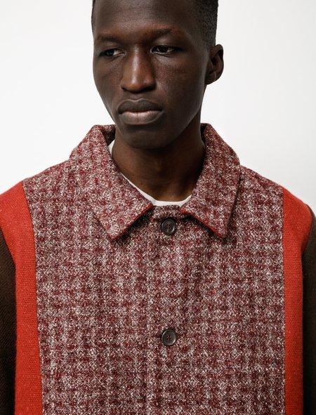 Frank Leder Jacket Mixed Fabric Shirt - Red/Brown