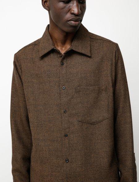 Frank Leder Textured Wool Shirt - Brown