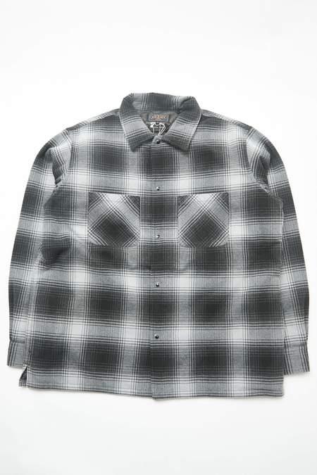 Beams Plus Quilt Open Collar Shirt Ombre Check - BLACK Ombre Check