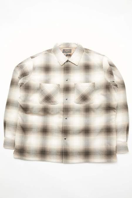 Beams Plus Quilt Open Collar Shirt Ombre Check - BROWN Ombre Check