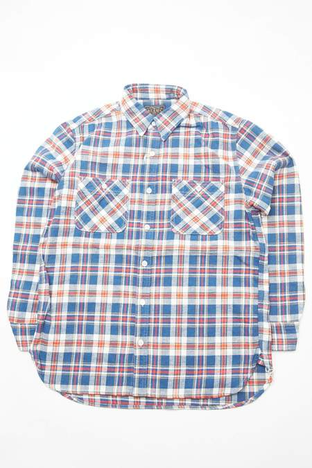 Beams Plus WORK Vintage Like Flannel Shaggy - BLUE CHECK