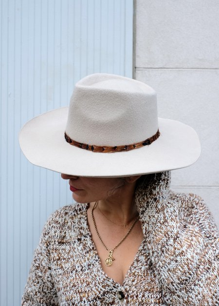Hat Attack Abigail with Feathers Trim - Beige