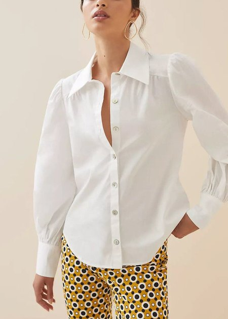 Margo Pointed Collar Puff Sleeve White Button Up Shirt
