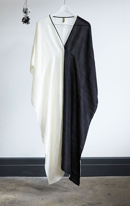 Two New York Black and white silk caftan