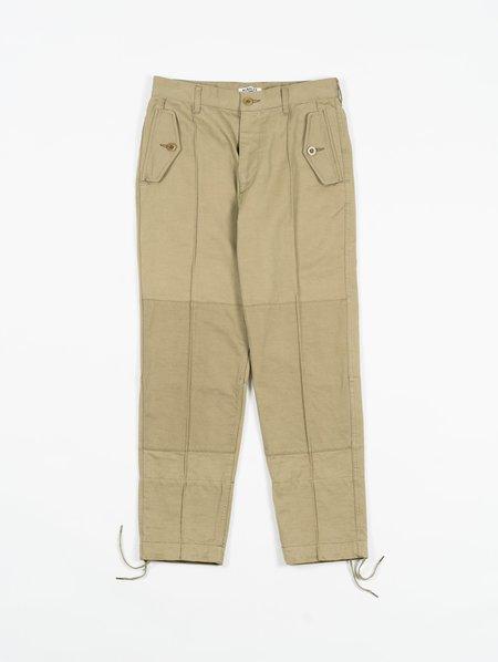 Auralee Washed Finx Buggy Satin Narrow Field Pants - Khaki Green