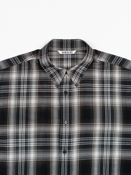 Auralee Wool Recycled Polyester Cloth Shirt - Black Check