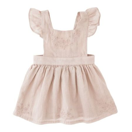 Tocoto Vintage Apron Dress with Embroidery and Ruffle Straps in Pink