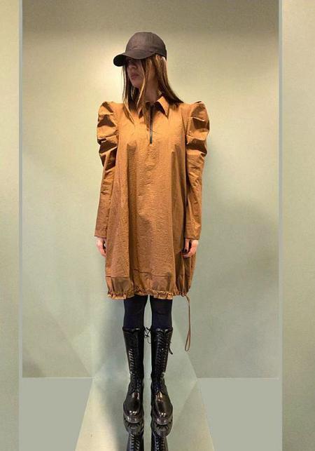 MiiN Bold Puff Sleeve Long Sleeve Bubble Dress - Brown