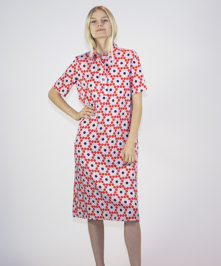 Dusen Dusen Floral Tile Long Collar Shirt Dress