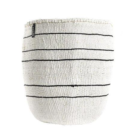 Mifuko Kiondo Large Basket - Five Black Stripes