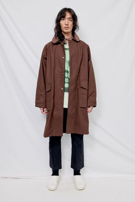 And Austin Club Collar Work Overcoat - Brown