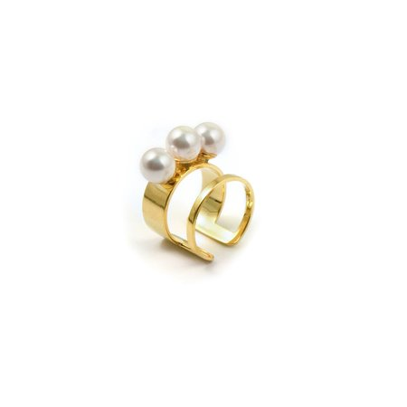 Joomi Lim Double 3 Pearls Band Ring - 16k Gold