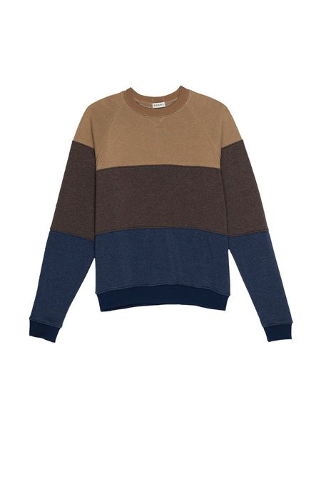 Vintage Fleece Tri-Crew Sweatshirt in Camel/ Chocolate/Navy
