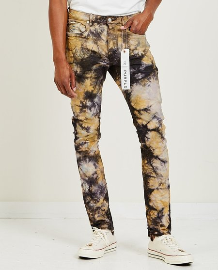 Purple Brand P001 Low Rise Skinny Jeans - Faded Black Clay Tie-Dye