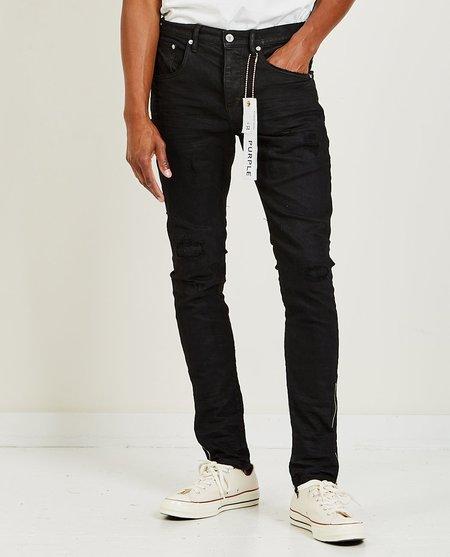 Purple Brand P002 Mid Rise Slim Tar Side Zipper Jeans - Black
