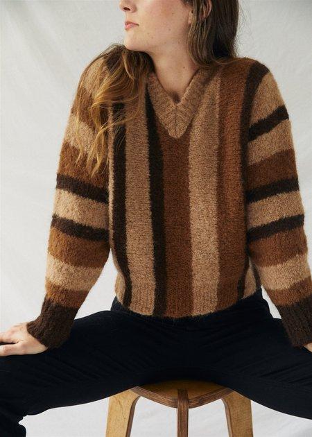 Paloma Wool Miércoles Sweater - Natural Brown Stripe