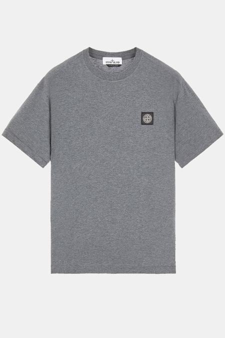 Stone Island Chest Logo SS Melange T-Shirt - Dark Grey