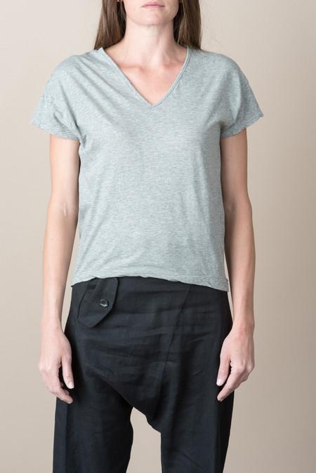 VRoom S/S Cotton V-Neck Tee In Heather Grey