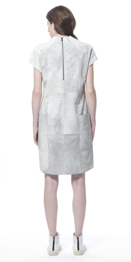 SCHAI Polygon Leather Dress - Cloud Mist