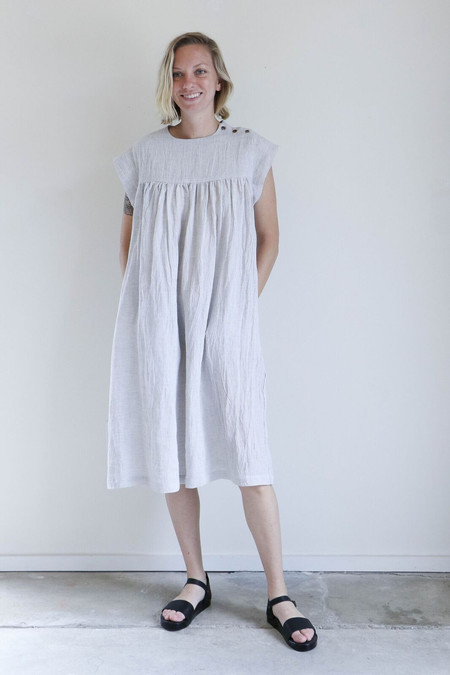 Sunja Link Yoke Dress in Silver Linen