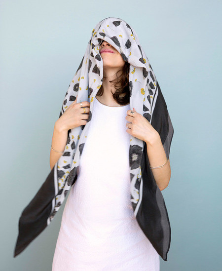 Calica Studio Silk Scarf - Dark Garden