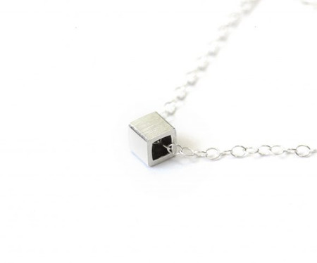 Camillette Silver Hollow Square Box Necklace